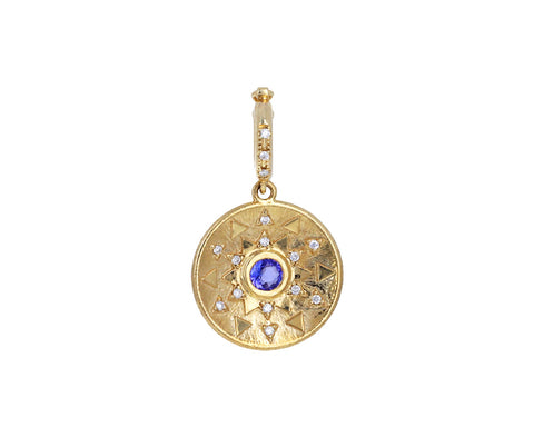 Tanzanite and Diamond Mini Sun Sign Charm Medallion ONLY