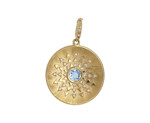 Aquamarine and Diamond Major Sun Sign Medallion ONLY
