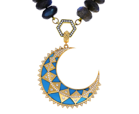 Turquoise Inlay and Diamond Major Crescent Pendant ONLY
