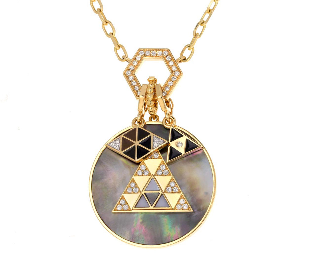 Black Enamel Triangle Charm Pendant ONLY