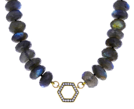 Chubby Labradorite and Diamond Foundation Necklace