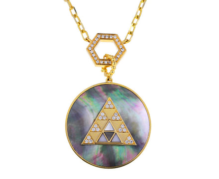 Mother-of-Pearl and Diamond Triangle Medallion Pendant ONLY
