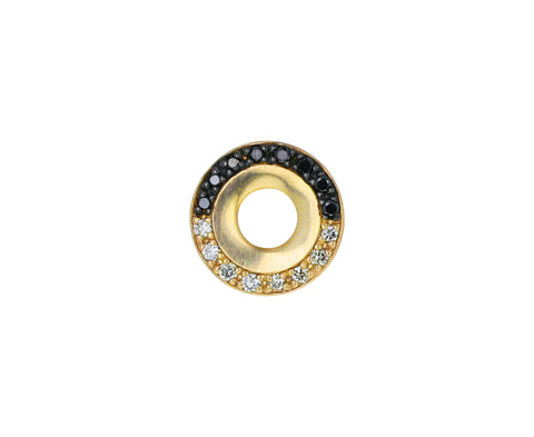 Black and White Diamond Wheel of Fortune SINGLE Earring