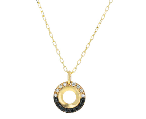 Black and White Diamond Wheel of Fortune Necklace