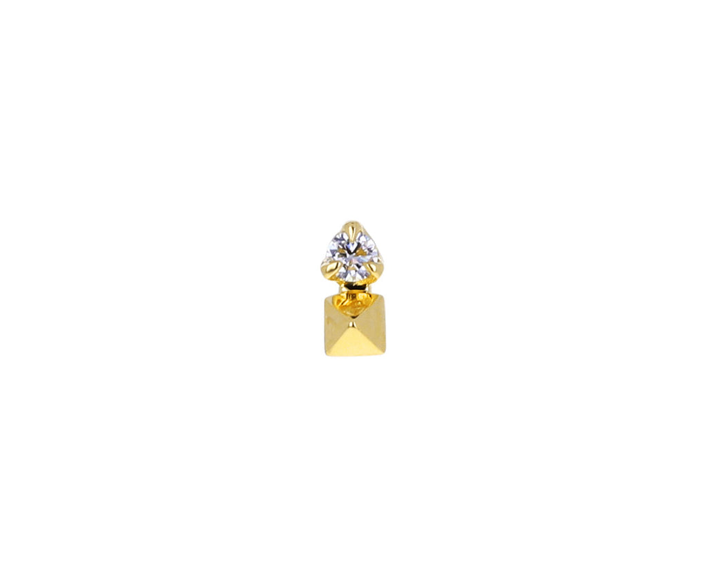 White Diamond Pyramid SINGLE Stud Earring