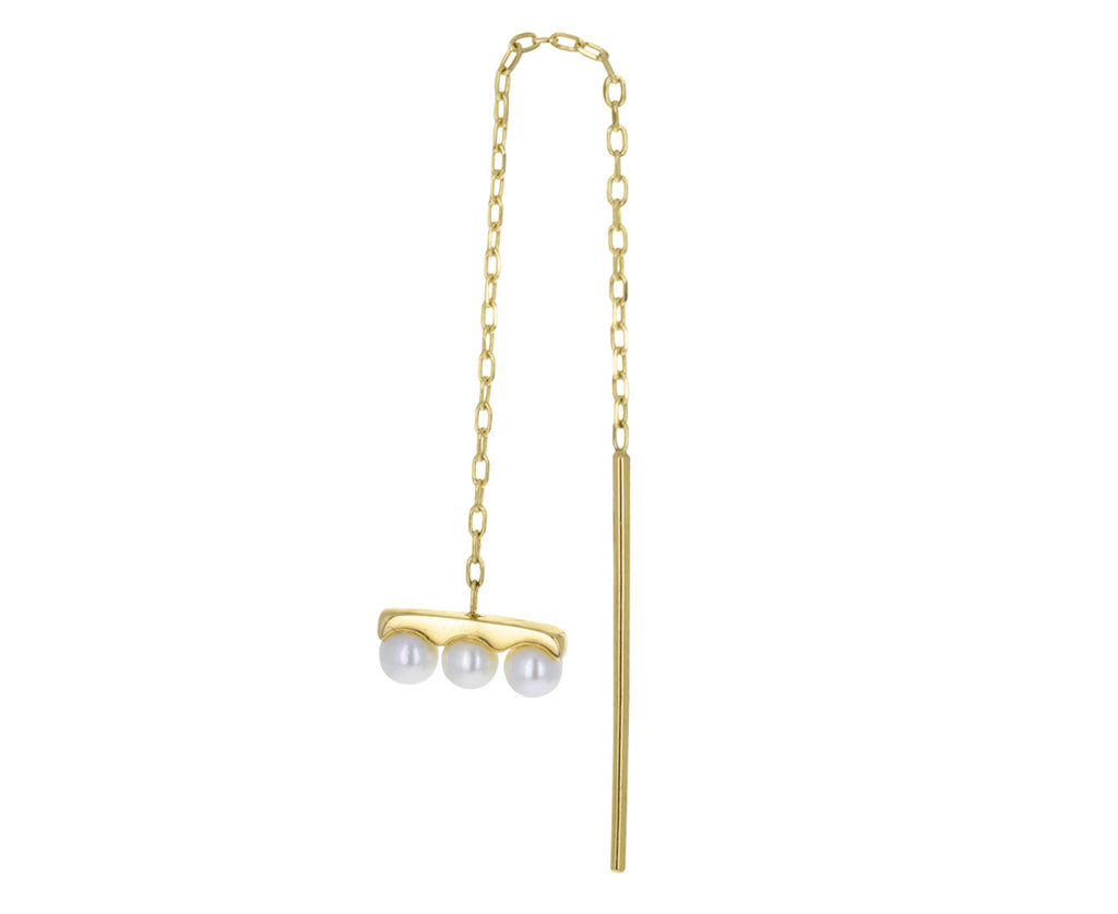 Triple Akoya Pearl Chain SINGLE Earring