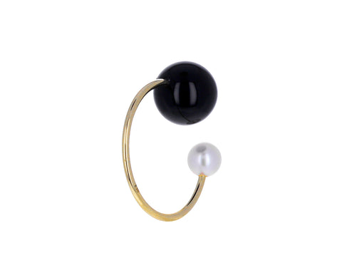 Onyx and Akoya Pearl Ear Cuff