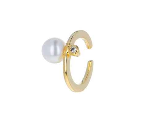 Pearl and Diamond Bumble Bee Ear Cuff