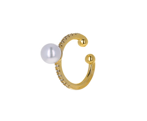 Akoya Pearl Diamond Ear Cuff