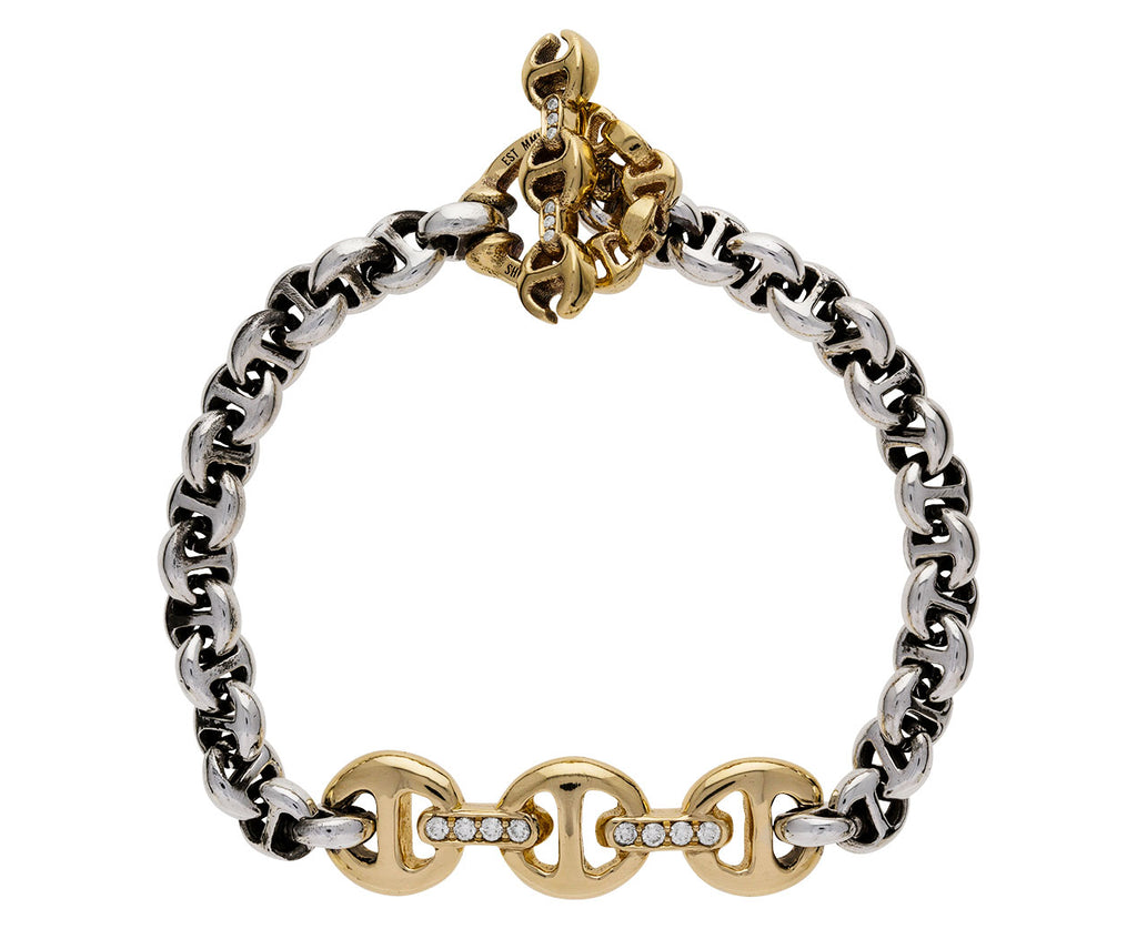 Sterling Silver and Gold Tri-Link Bracelet
