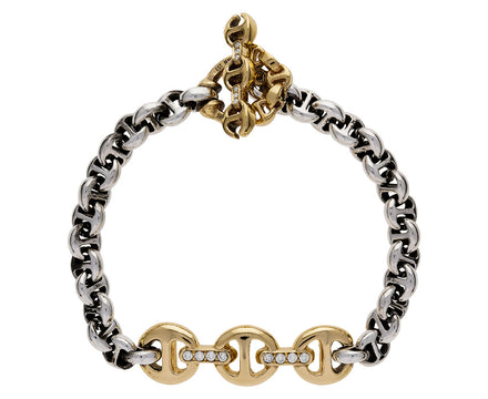 Sterling Silver and Gold Tri-Link Bracelet - TWISTonline