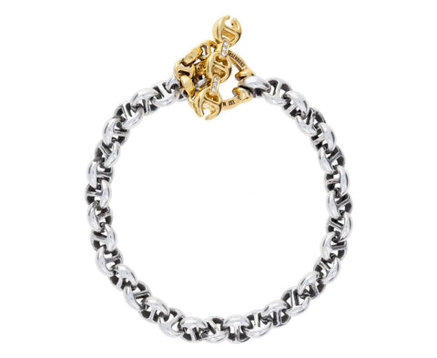 Sterling Silver and Gold Open Link Bracelet - TWISTonline