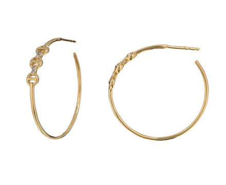 Triple Link Diamond Bridge Hoop Earrings - TWISTonline