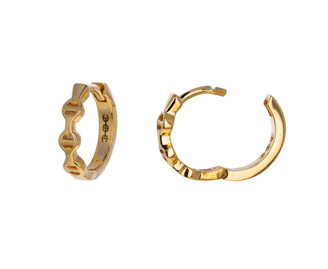 Tri-Link Huggie Hoop Earrings