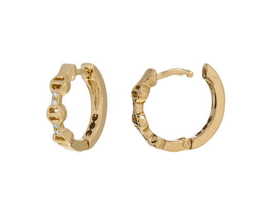 Gold and Diamond Huggie Hoop Earrings