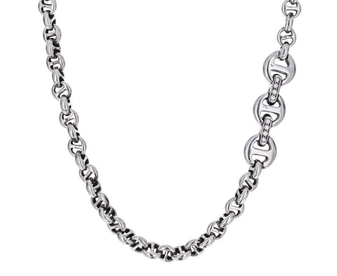 Sterling Silver Tri-Link Chain Necklace with Diamonds - TWISTonline
