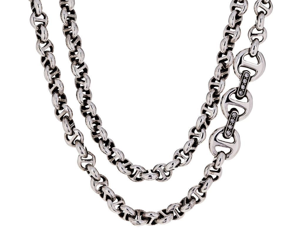 Long Sterling Silver Open Link Necklace with Diamonds