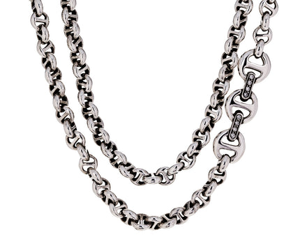 Long Sterling Silver Open Link Necklace with Diamonds - TWISTonline