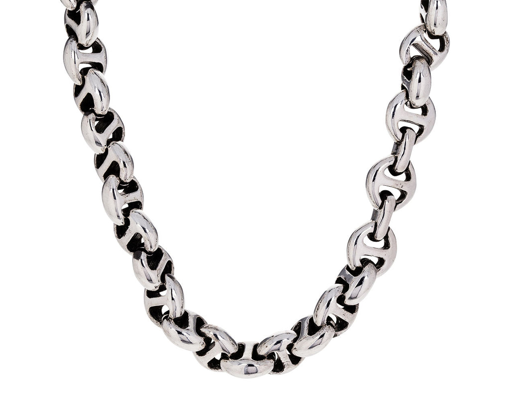 Sterling Silver Open Link Chain with Diamonds