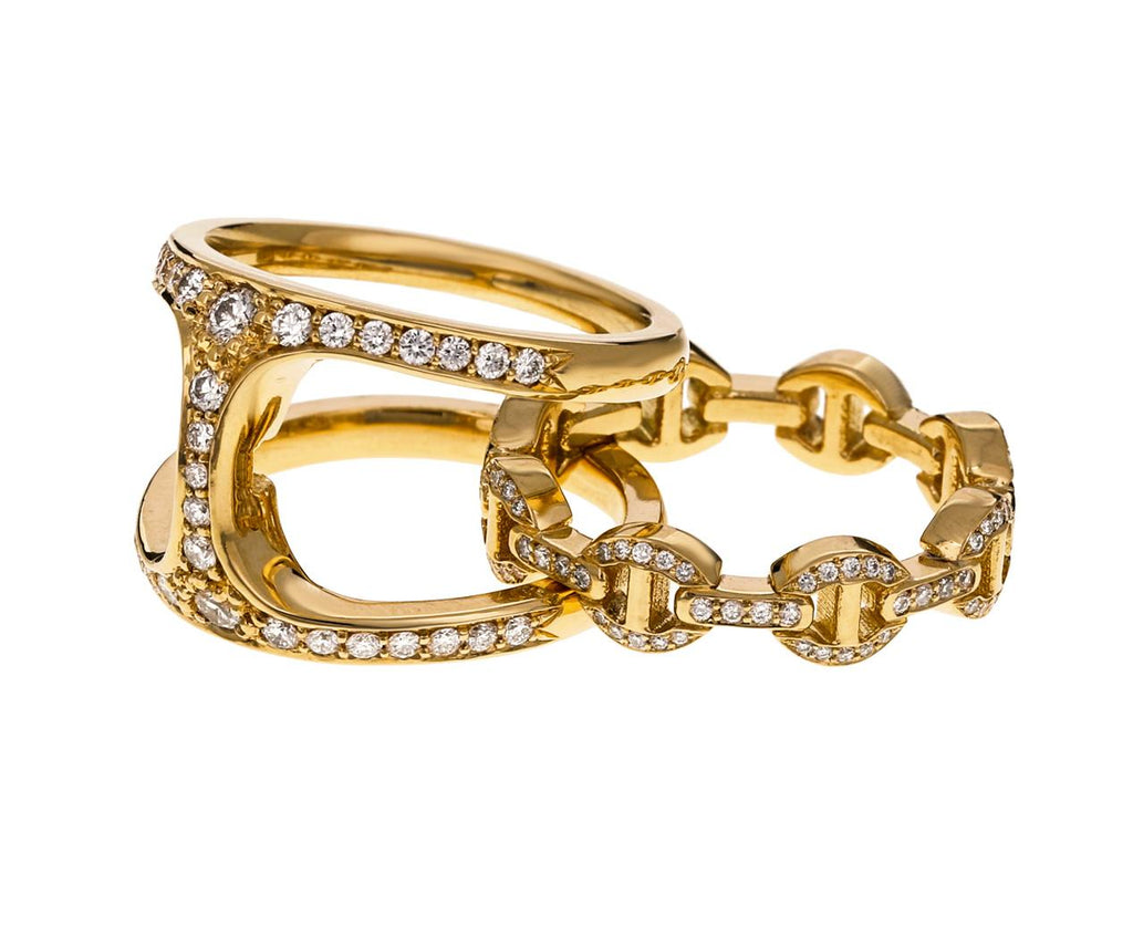 Yellow Gold Diamond Dame Phantom Clique Ring - TWISTonline