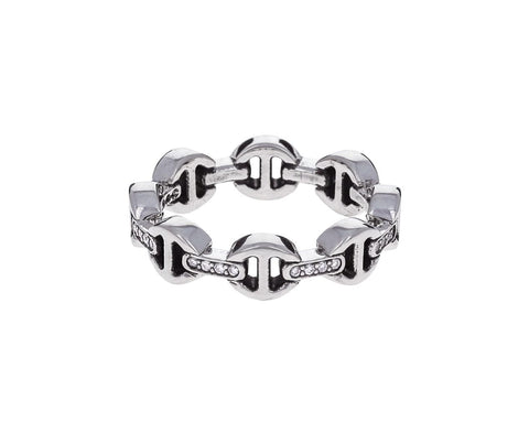 Sterling Silver Diamond Bridge Dame Tri-Link Ring - TWISTonline