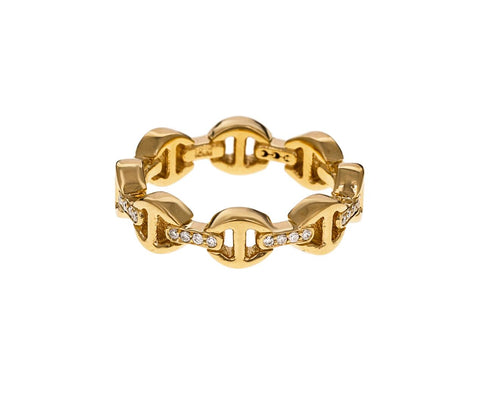 Yellow Gold Diamond Bridge Dame Tri-Link Ring - TWISTonline