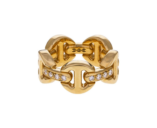 Yellow Gold Diamond Classic Tri-Link Dame Ring - TWISTonline