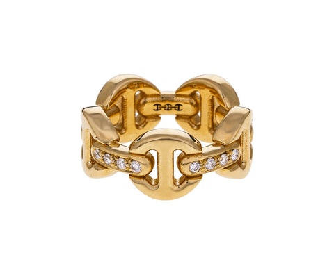 Yellow Gold Diamond Classic Tri-Link Dame Ring zoom 1_hoorsenbuhs_gold_diamond_classic_tri_link_ring
