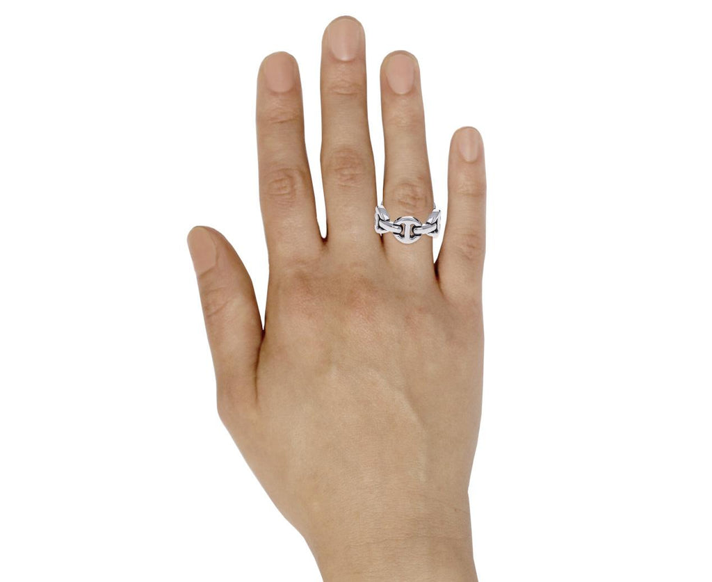 Sterling Silver Classic Tri-Link Dame Ring - TWISTonline