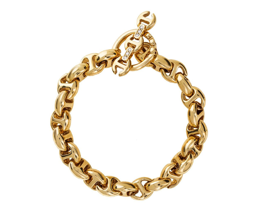 Yellow Gold Tri-Link Chain Bracelet zoom 1_hoorsenbuhs_gold_diamond_open_link_toggle_bracel