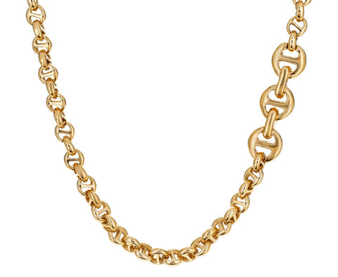 Yellow Gold Tri-Link Chain Necklace - TWISTonline
