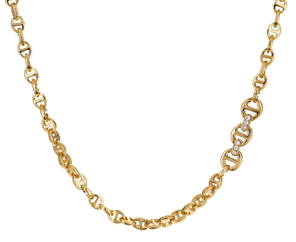 Small Tri-Link Chain Necklace with Diamond Toggle - TWISTonline