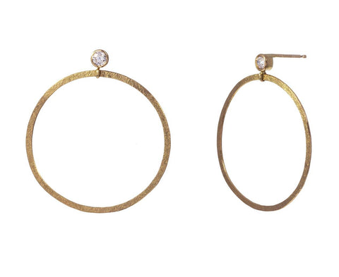 Diamond Dot Swing Hoop Earrings - TWISTonline