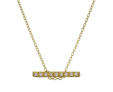 Tiny Horizontal Diamond Bar Necklace - TWISTonline