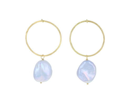 Gold and Pearl Swing Hoops