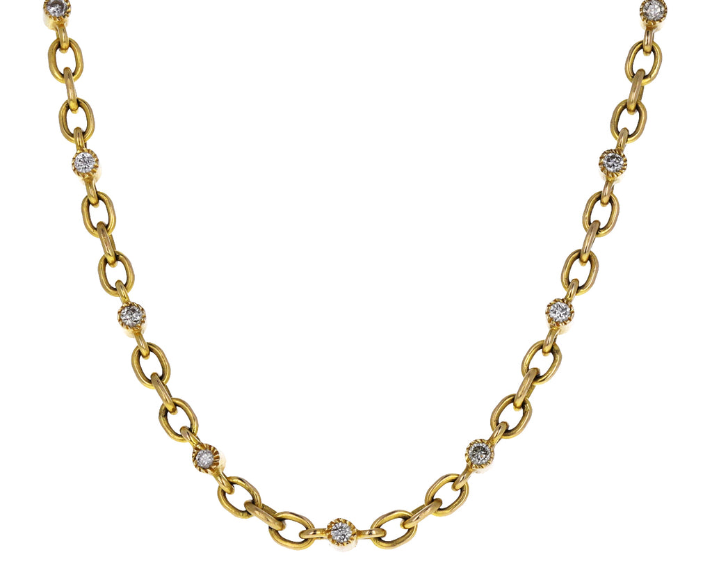 Gold and Double Sided White Topaz Chain Necklace