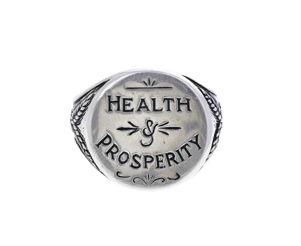 Silver Health and Prosperity Signet Ring