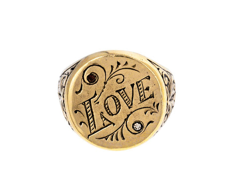 Diamond Love Signet Ring