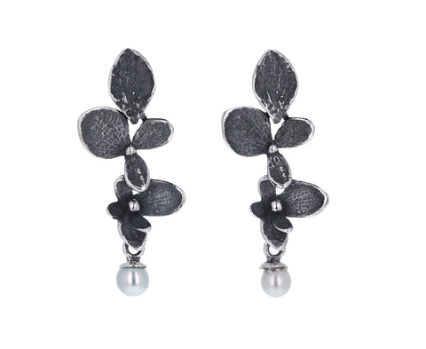 Hydrangea Two Part Gray Pearl Earrings