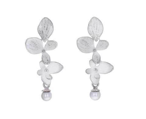 Silver Hydrangea Two Part Pearl Earrings
