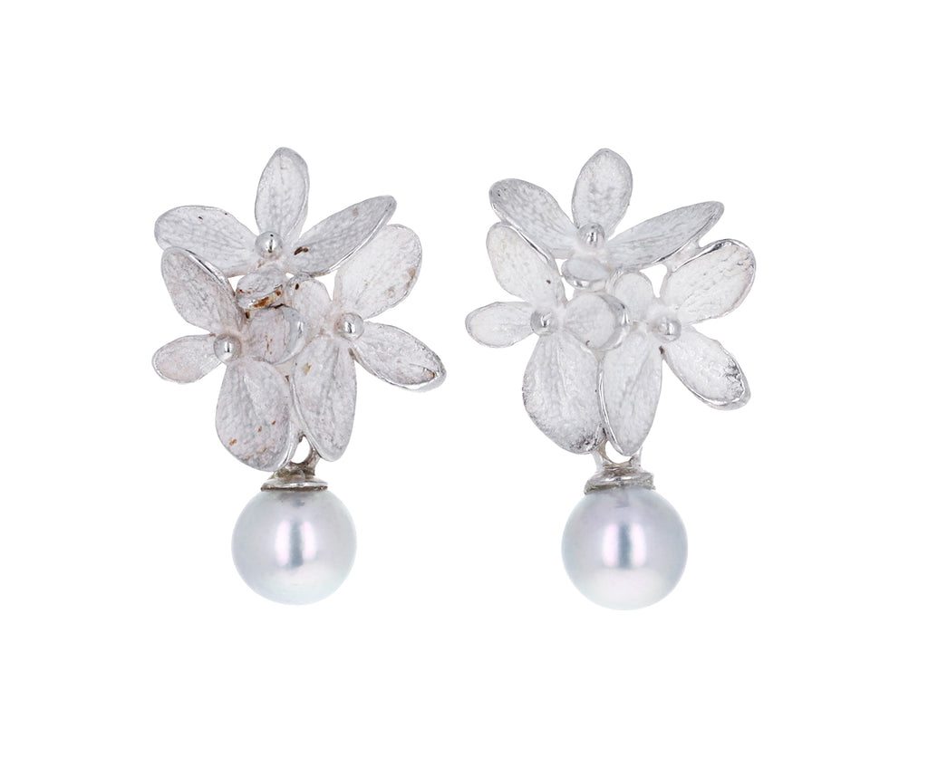 Silver Hydrangea Cluster and Pearl Drop Earrings