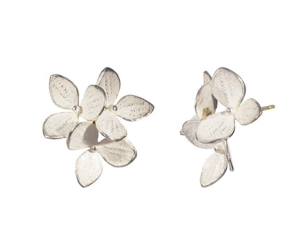 Three Part Medium Silver Hydrangea Post Earrings - TWISTonline