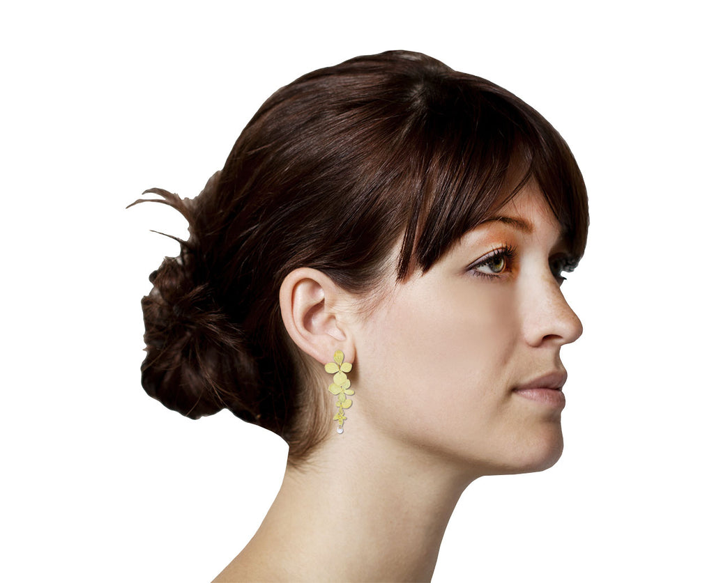 John Iverson Gold Hydrangea Four Part Gray Akoya Pearl Earrings shown on ear