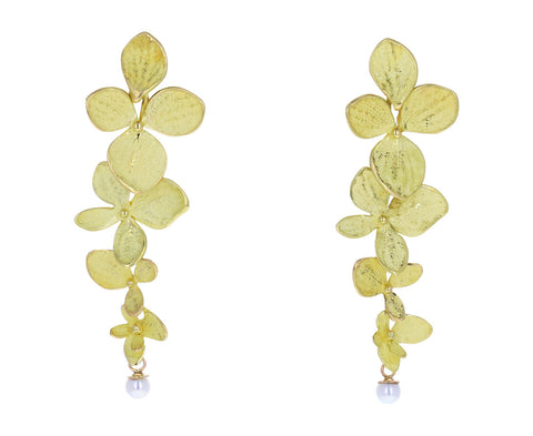 John Iverson Gold Hydrangea Four Part Gray Akoya Pearl Earrings