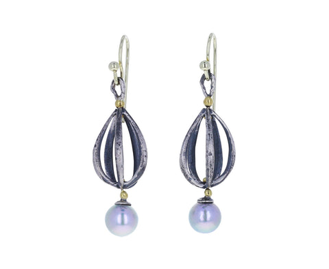 John Iverson Oxidized Sterling Silver Apartment Drop Earrings with Akoya Pearls