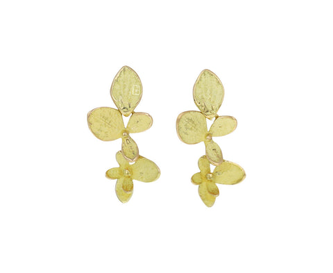 John Iverson Gold Double Hydrangea Drop Earrings