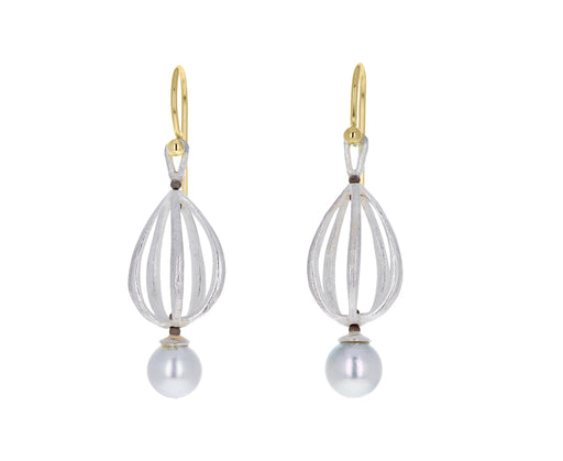 Silver Apartment Drop Earrings with Gray Akoya Pearls