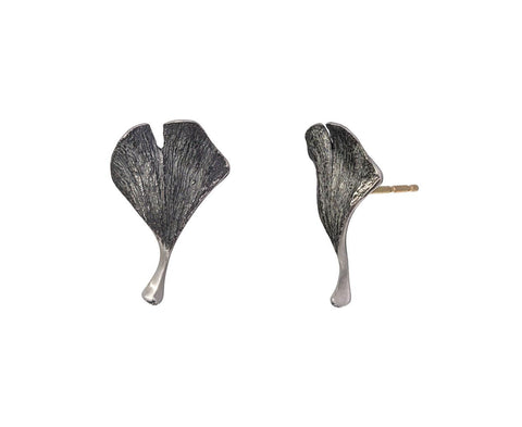 Gray Silver Baby Ginkgo Earrings - TWISTonline