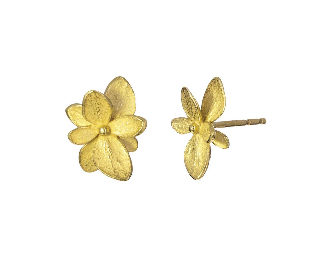 Gold Single Hydrangea Earrings - TWISTonline