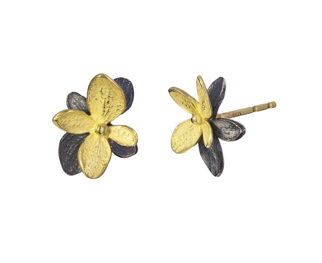Gold and Blackened Silver Hydrangea Earrings zoom 1_john_iversen_gold_silver_baby_hydrangea_twin_stu